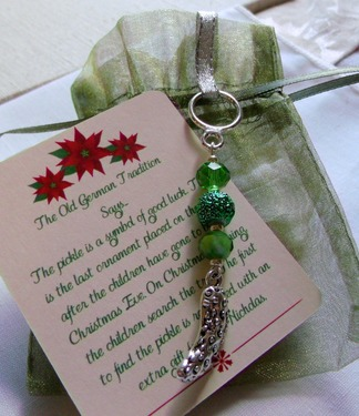 Pickle Christmas Ornament - German Pickle Holiday Tradition - Handmade Silver Pickle Green Beads & Crystals Tree Decor