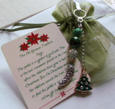 Deluxe Pickle Christmas Ornament - German Pickle Holiday Tradition - Handmade Silver Pickle Charms Green Beads & Crystals Tree Decor