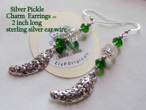 Pickle Earrings - Handmade Silver Pickle Charm Green Crystals & Beads Ear Rings