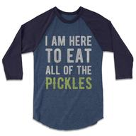 I Am Here To Eat All Of The Pickles Baseball Tee - The Whiskey Pickle Raglan T-Shirt (Heather Demin / Navy)