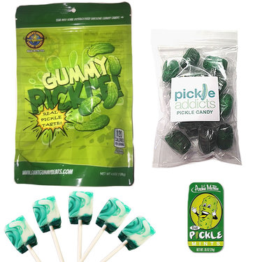 Deluxe Pickle Candy Sampler Gift Pack (4pc Set) - Dill Pickles Lollipops, Mints, Pickle Barrel Hard Candies & Gummy Pickle