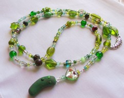 Pickle Necklace - Handmade Pickle Charms Green Crystals & Beads Lariat Necklace