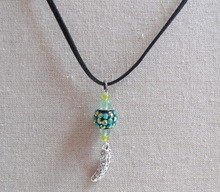 Pickle Charm Necklace - Handmade Silver Pickle Charm Green Beads & Rhinestone Leather Necklace