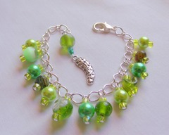 Pickle Charm Bracelet - Handmade Silver Pickle Charm Green Pearls & Beads Braclet