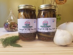 Grandma Nancy's Homestyle Hot Dilly Beans - Spicy Dill Green Bean Pickles (Two Pints)