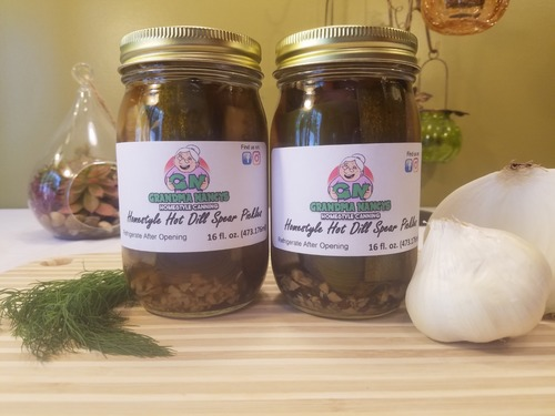 Grandma Nancy's Homestyle Hot Dill Pickles - Spicy Dill Pickle Spears (Two Pints)