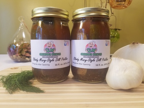 Grandma Nancy's Bloody Mary Style Dill Pickles- Wisconsin's Famous Dill Pickle Spears (Two Pints)