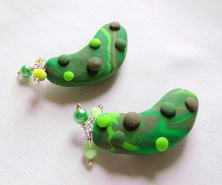 Pickle Magnets - Handmade Green Polymer Clay Pickle Magnet (Set of 2)