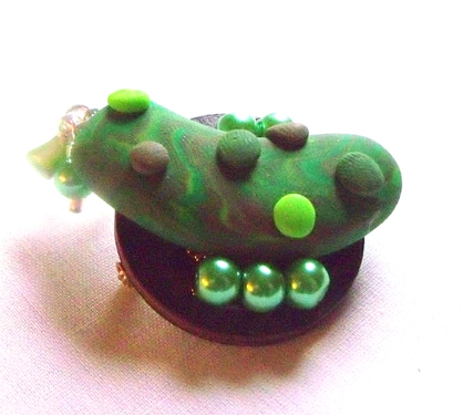 Pickle Brooch - Handmade Green Polymer Clay Pickle Pin