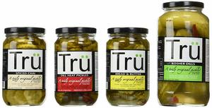 Tru Pickles Variety Gift Pack - FOUR JARS - Kosher Dills, Bread & Butter, Dill Heat & Spiced Chai Pickle Sampler Pack