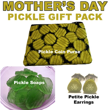 Mother's Day Pickle Gift Set - Pickle Coin Purse, Sliced Pickle Soaps & Petite Pickle Earrings