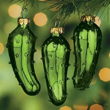 Christmas Pickle Ornament 3 Pack Green Glass Tree Ornaments German Legend Holiday Tradition