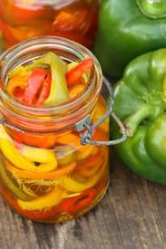 Pickled Sweet Peppers! Homemade Pickled Sweet Peppers Are Simple To Make And So Flavorful. Add These Pickled Bell Peppers To Your Favorite Sandwiches, Omelets, And Cheese And Crackers. Read More Here: Https://afarmgirlskitchen.com/pickled-sweet-peppers/