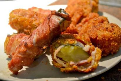 Bacon Wrapped Fried Pickles!