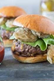 Cheese Stuffed Fried Pickle Burgers!