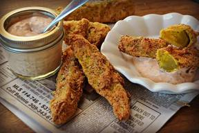 Fried Pickle Spears With Peppy Dipping Sauce!