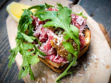 Beef Carpaccio Crostini With Pickled Mustard Seeds!