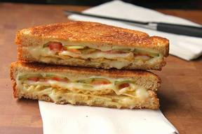Pickle, Tomato & Potato Chip Grilled Cheese!