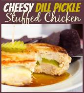 Cheesy Pickle Stuffed Chicken Breasts!