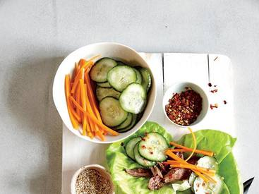 Beef Lettuce Wraps W/ Quick Pickles!