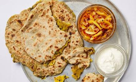 Aloo Paratha W/ Quick Lemon Pickles!