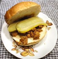 Pickle and Molasses Pulled Pork Sandwich