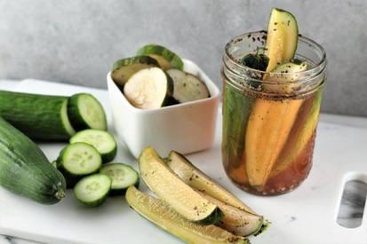Homemade Garlic & Basil Pickles!