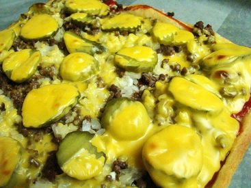 Cheeseburger Pizza with Pickles
